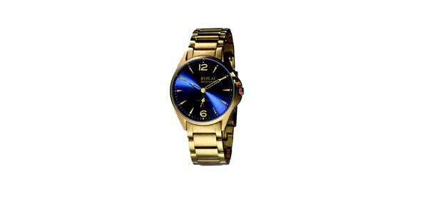 Pánske zlaté hodinky s modrým displejom Replay
