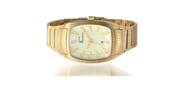 Pánske zlaté hodinky s hranatým displejom Replay e039e36429