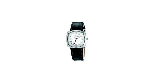 Dámske analogové hodinky s čiernym remienkom a kryštáľmi Replay