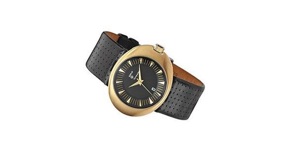 Pánske oválne zlaté hodinky Replay s perforovaným remienkom