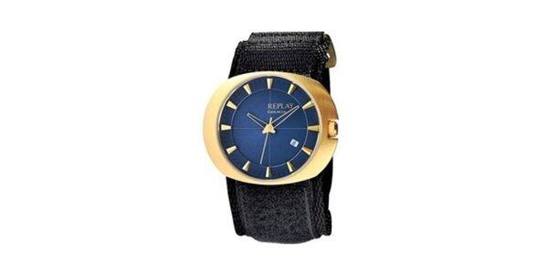 Pánske zlaté oválne hodinky s modrým ciferníkom Replay