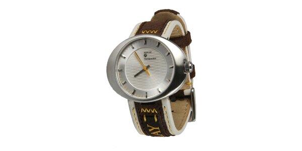 Pánske strieborné hodinky so žltou sekundovkou Replay