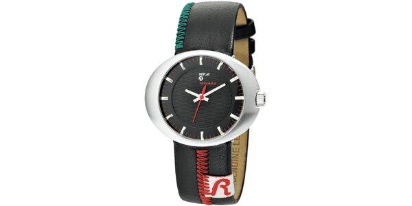 Pánske oválne hodinky Replay so zdobeným remienkom