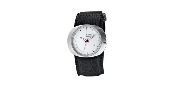 Pánske oválne hodinky Replay s červenou sekundovkou