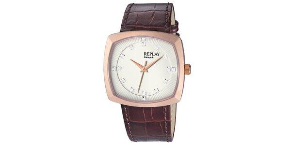 Pánske hranaté hodinky Replay vo farbe ružového zlata ffa5e3fede