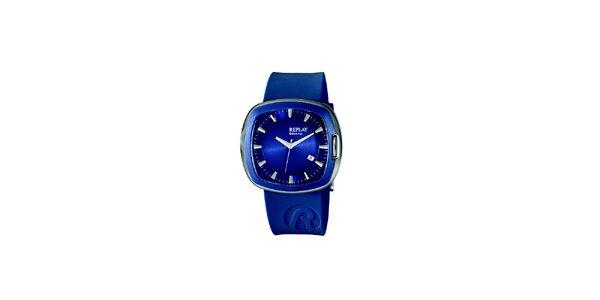 Modré analogové hodinky Replay s hranatým displejom