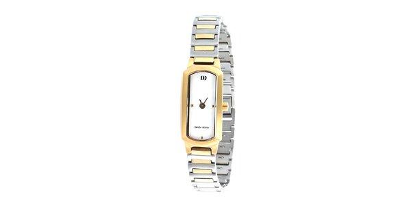 Pozlátené analogové titanové hodinky Danish Design