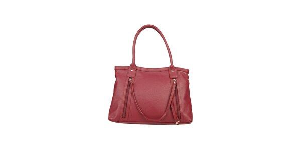 Dámska kožená bordó kabelka s ozdobným remienkom Made in Italia