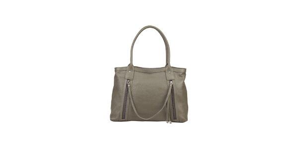 Dámska šedá kožená kabelka s ozdobným remienkom Made in Italia