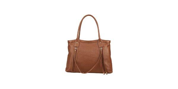 Dámska svetlo hnedá kožená kabelka s ozdobným remienkom Made in Italia