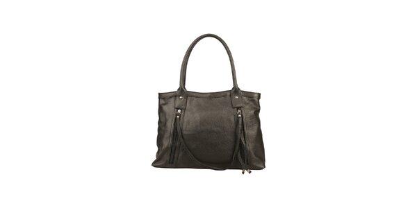 Dámska čierna kožená kabelka s ozdobným remienkom Made in Italia