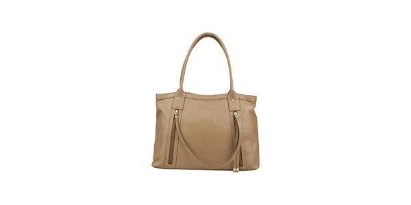 Dámska béžovo-šedá kožená kabelka s ozdobným remienkom Made in Italia