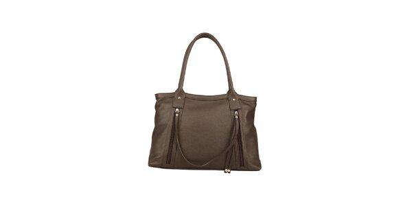 Dámska tmavohnedá kožená kabelka s ozdobným remienkom Made in Italia