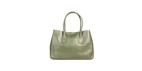 Dámska zelená kožená kabelka s ozdobným lemom Made in Italia