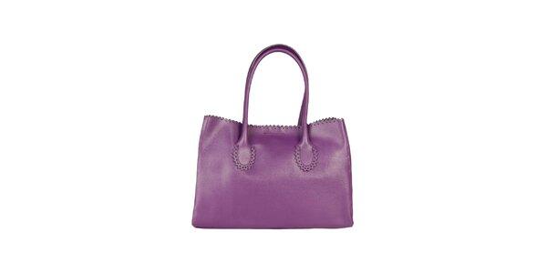 Dámska fialová kožená kabelka s ozdobným lemom Made in Italia