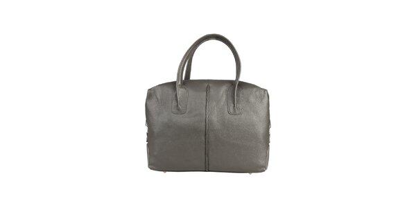 Dámska šedá kožená kabelka s karabínkou Made in Italia
