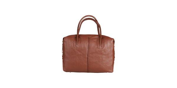Dámska hnedá kožená kabelka s karabínkou Made in Italia