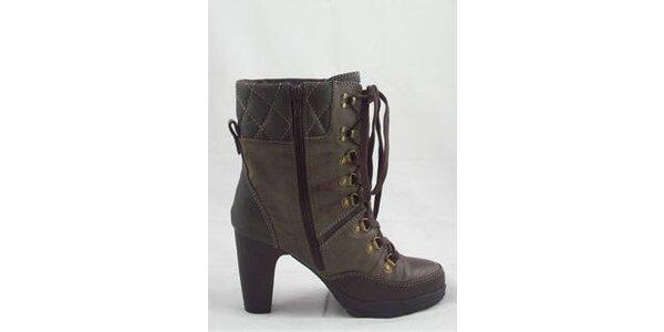 Dámske hnedé kotníčkové topánky Tom Tailor