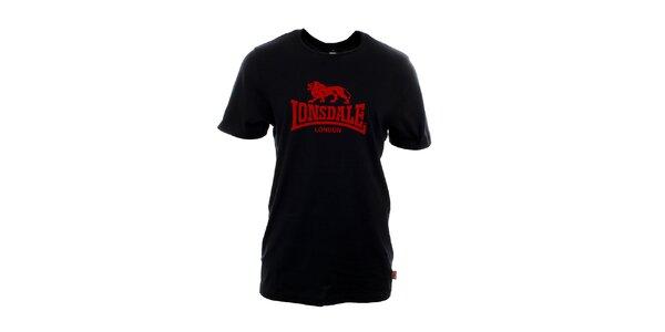 Pánske čierne tričko s červenou potlačou Lonsdale