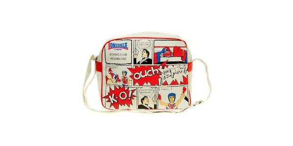 Pánska biela taška s komiksovou potlačou Lonsdale
