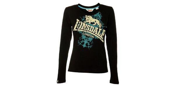 Dámske čierne tričko s dlhým rukávom Lonsdale a potlačou