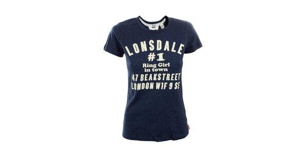 Dámske modro melírované tričko Lonsdale s potlačou