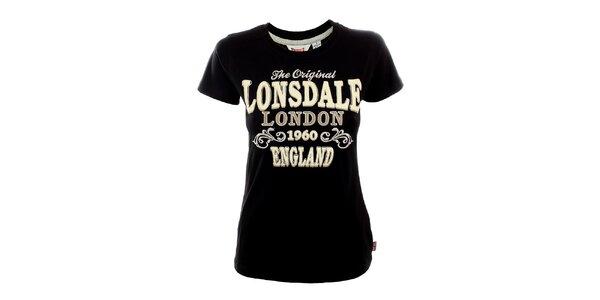 Dámske čierne tričko s bielou potlačou Lonsdale