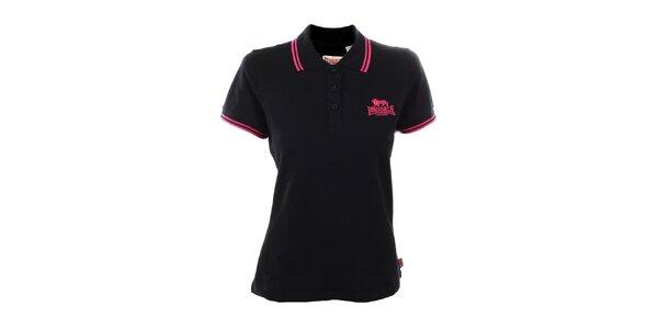 Dámske čierne polo tričko s ružovými detailmi Lonsdale