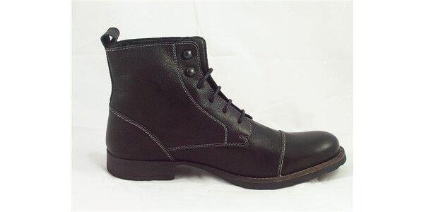 Pánske čierne kotníčkové topánky Tom Tailor