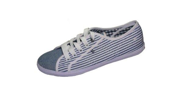 Dámske bielo-modré plátené tenisky Tom Tailor