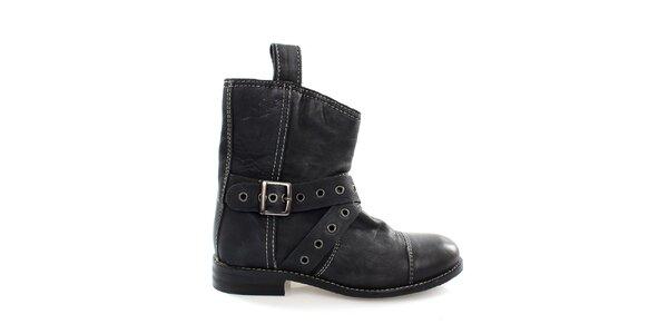 Dámske čierne kožené kovbojské topánky Levis