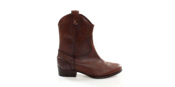Dámske hnedé kovbojské topánky Levis
