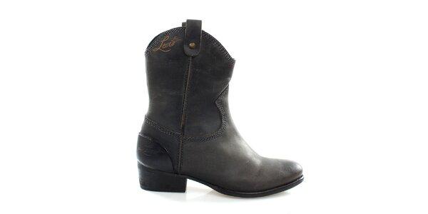 Dámske antracitové kovbojské topánky Levis