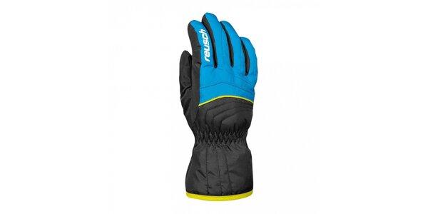 Detské modro-čierne lyžiarske rukavice Reusch