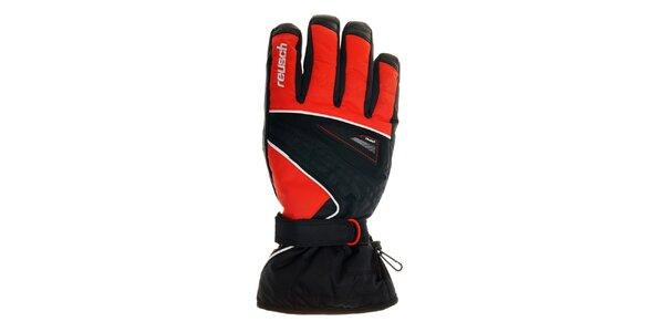 Pánske čierno-červené lyžiarske rukavice Reusch s membránou