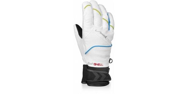 Dámske biele softshellové rukavice Reusch s membránou