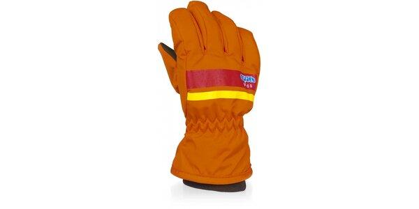 Detské oranžové lyžiarske rukavice