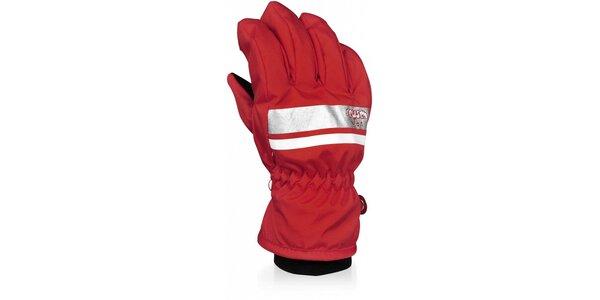 Detské červené lyžiarske rukavice
