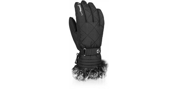 Dámske čierne zimnérukavice Reusch s kožíškem