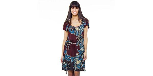 Dámske čokoládové šaty s modrou potlačou Peace&Love