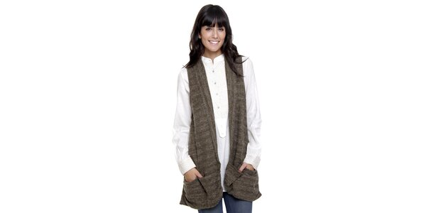 Dlhý khaki sveter bez rukávov Peace&Love