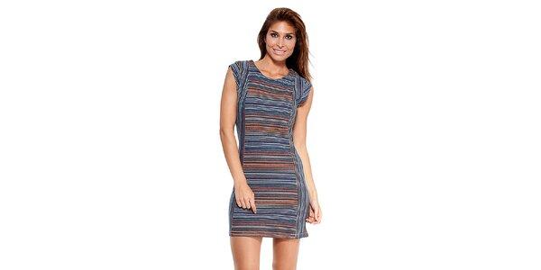Dámske modré prúžkované šaty Peace&Love