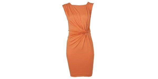 Dámske oranžové šaty s riasením CeMe London