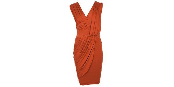 Dámske tehlovo oranžové šaty s drapériou CeMe London