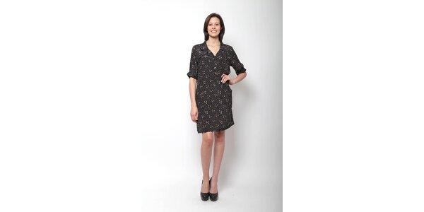 Dámske čierne hodvábne šaty Miss June s potlačou