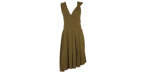 Dámske khaki šaty s bohatou splývavou sukňou CeMe London