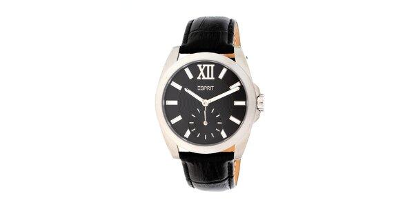 Dámske okrúhle analogové hodinky Esprit s čiernym ciferníkom