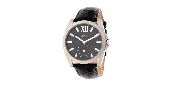 Dámske oceľové hodinky Esprit s čiernym koženým remienkom