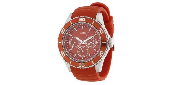 Dámske oranžové analogové hodinky s chronografom Esprit