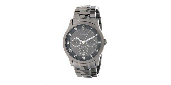 Dámske kovovo šedé oceľové hodinky Esprit